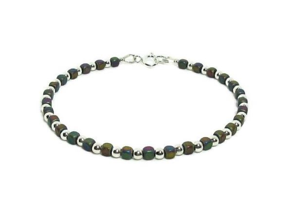 Matte Rainbow Hematite Cubes Bracelet With Sterling Silver Beads | Silver Sensations